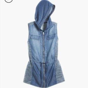 ZENERGY Super Soft Denim Cinched Waist Hooded Vest